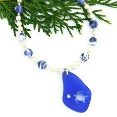 Blue #SeaGlass #Turtle Pendant, Sodalite Pearls #Handmade Beach #Jewelry by @ShadowDog #ShadowDogDesigns #Indiemade - $60.00 - SOLD