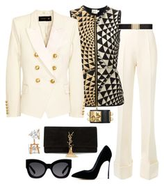 """Holiday Party"" by fashionkill21 ❤ liked on Polyvore featuring moda, STELLA McCARTNEY, FAUSTO PUGLISI, Casadei, Yves Saint Laurent, Allurez, Karen Walker y Balmain"