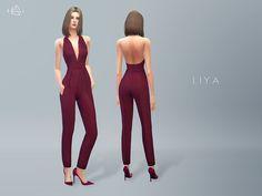 Silk V-neck Jumpsuit LIYA by starlord at TSR via Sims 4 Updates