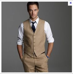 We like this color of the vest and pants. White shirt with either red or turquoise ties? Brown leather sneakers?