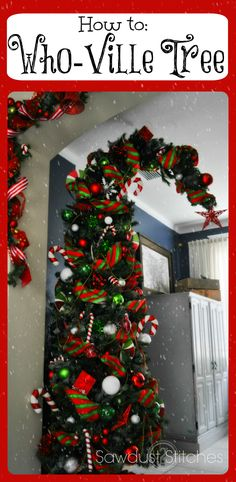 How to make a Who-Ville/Dr. Suess Tree - to go along with the Grinch trees at the farm Grinch Party, Le Grinch, Grinch Christmas Party, Office Christmas, Noel Christmas, Christmas Projects, Winter Christmas, All Things Christmas, Simple Christmas