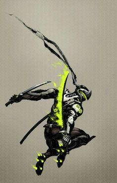 Fan art of Genji/ 源氏 from Blizzard's Overwatch. Brushpen on rice paper scanned into Photoshop for colour and edit. Overwatch Genji, Overwatch Comic, Overwatch Fan Art, Overwatch Drawings, Overwatch Memes, Arte Ninja, Genji And Hanzo, Ronin Samurai, Genji Shimada