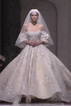 Ziad Nakad Look 48 Amazing Uniq Embroidered Pearl Off Shoulder Wedding Dress / Bridal Ball Gown with Half Long Sleeves, Veil and Cathedral Train. Fashion Runway by Ziad Nakad<br> Princess Wedding Dresses, Dream Wedding Dresses, Bridal Dresses, Queen Wedding Dress, Couture Wedding Gowns, Off Shoulder Wedding Dress, Dresses Elegant, Amazing Wedding Dress, Ball Dresses