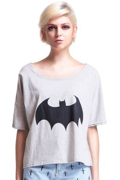 """""""Contrasting Bat"""" Grey T-shirt. Description Grey T-shirt, featuring a round neckline, magyars, black bat print on front, loose styling, a delicate length cut. Fabric Cotton. Washing 40 degree machine wash, do not bleach, do not tumble dry, cool iron on reverse, do not dry clean. #Romwe"""