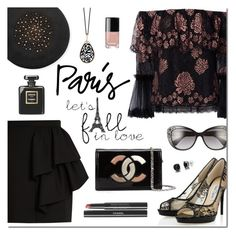 """I Love PARIS in the Fall"" by sjkdesign ❤ liked on Polyvore featuring Alexis, Yves Saint Laurent, Jimmy Choo, Chanel, Gigi Burris Millinery, Pomellato and Versace"