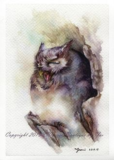 PRINT – Sleepy Watercolor painting 7.5 x 11""