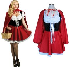 2016 New Fashion Halloween Costume adulte femmes fantaisie Costume mesdames Little Red Riding Hood Costumes