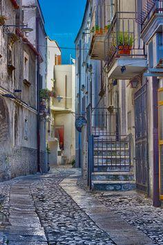 Street in Peschici, Puglia, Italy