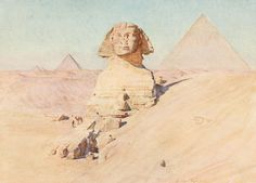 Tyndale, Walter (1855-1943) - Below the Cataracts 1907, The Sphinx & pyramids at Gizeh. #egypt