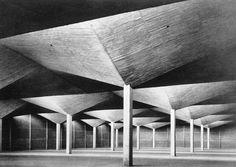 "architectureofdoom: "" Celestino Fernandez's warehouse, Colonia Vallej, Felix Candela, 1955 "" Architecture Cool, Concrete Architecture, Landscape Architecture, Concrete Structure, Roof Structure, Felix Candela, Construction, Brutalist, Modern Buildings"