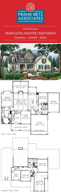 Statesboro- 2676sqft, 4bdrm main level master craftsman house plan by Frank Betz Associates