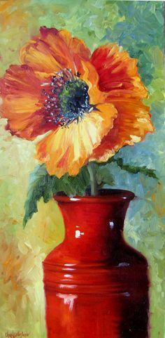 Flor de amapola roja en florero rojo por OilPaintingsByCheri