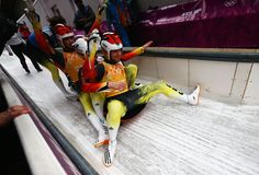 Sochi 2014 Day 7 - Luge Team Relay Competition (L-R) Felix Loch, Tobias Wendl, Natalie Geisenberger and Tobias Arlt of Germany celebrate winning the Luge Relay Bobsleigh, Luge, Winter Games, Team Usa, Winter Olympics, Winter Sports, Olympic Games, Competition