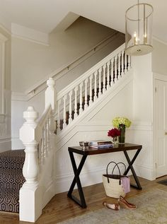 FOYER – great example of an impressive way to welcome guests. Transitional entry by Jute Interior Design.
