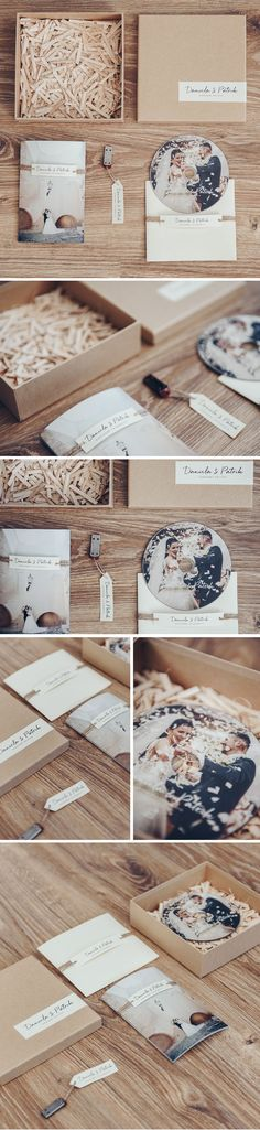 Wedding packaging for USB, DVD and classic photo.
