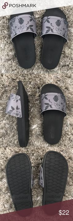 Adidas Slides Size 5 Barely used black and grey floral ADIDAS slides Size 5.  Very comfortable! adidas Shoes Sandals