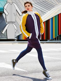 A cool combination: Exposed edge accent strips are sewn on along the raglan sleeves and the zipper front for a look that is reminiscent of a retro training jacket. It also features the egg-shaped cut of a relaxed '60s style. If you don't want to cut your own accent fabric strips, you could use strips of petersham.