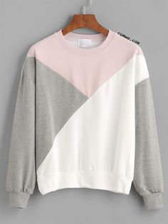 SheIn offers Color Block Drop Shouder Sweatshirt & more to fit your fashionable needs. - mens button down flannel shirts, retro shirts, mens button down sport shirts *ad Sweat Shirt, Grey Sweatshirt, Gray Shirt, Grey Long Sleeve Shirt, Long Sleeve Tops, Mode Outfits, Outfits For Teens, Tokyo Street Fashion, Mode Inspiration
