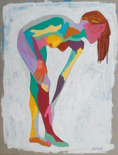 Original Abstract Nude Figure Study Female Nude Art Figure