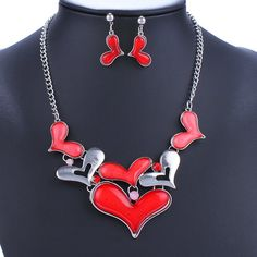 A Suit of Chic Heart Alloy Necklace and Earrings For Women #CLICK! #clothing, #shoes, #jewelry, #women, #men, #hats, #watches