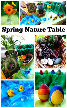 A spring nature table is a space in the home used for placing natural items that reflect the season. It is often used as a way to study nature in the home. Nature Activities, Spring Activities, Sensory Activities, Toddler Activities, Outdoor Activities, Sensory Bins, Montessori, Spring Nature Table, Sensory Play Recipes