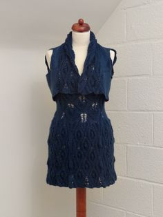 Hand knitted dress with vest