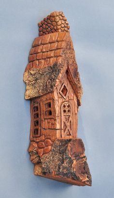 Bark Carving Whimsical Houses | SALE - Whimsical House - Hand Carved In Cottonwood Bark