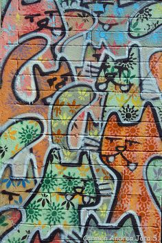 Cat Street art Valparaiso, Chile