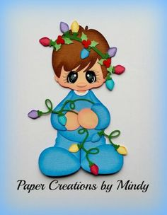 Craftecafe-Mindy-Luzes-De-Natal-Menino-Premade-Paper-piecing-para-a-pagina-do-scrapbook