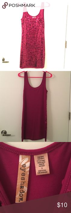 Fun magenta knee length cocktail dress! Great dress for parties, New Years, etc. All of the sequins are intact! Can also wear with leggings. Like new only worn once! Eyeshadow Dresses Midi