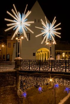 Outdoor Christmas lighting for city centers and municipal districts brings holiday festiveness to any town. Christmas Vacation, Outdoor Christmas, Christmas And New Year, Christmas Time, Christmas Medley, Merry Christmas, Christmas Stuff, Christmas Ideas, Hanging Christmas Lights