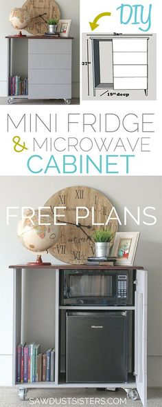 Build a cabinet to fit your small appliances. This is perfect for a guest room, basement, or office!
