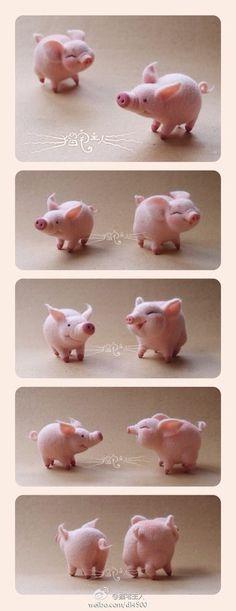 Wool Felt Pig - idea for fimo! Needle Felted Animals, Felt Animals, Wet Felting, Needle Felting, Clay Crafts, Felt Crafts, This Little Piggy, Felting Tutorials, Felt Toys