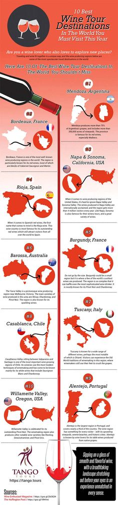 10 Best Wine Tour Destinations In The World [Infographic]