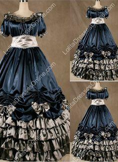 Gothic Victorian Super Gorgeous Navy Blue Lolita Dress