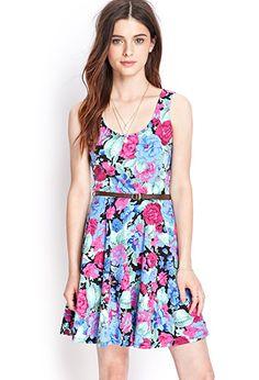 Floral Knit Skater Dress | FOREVER21 - 2000060766  $16