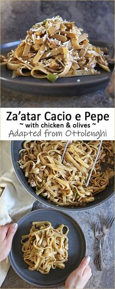 This one-pot Za'atar Cacio e Pepe with chicken and olives is a spin on traditional Cacio e Pepe. Inspired by Yotam Ottolenghi, this recipe gets a flavor boost from za'atar and garlic and is a quick and easy family favorite in our home. Vegetarian One Pot Meals, Easy One Pot Meals, Best Pasta Recipes, Great Recipes, Top Recipes, Cacio E Pepe Recipe, My Favorite Food, Favorite Recipes, Chicken With Olives