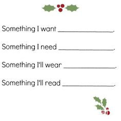 A Christomas Wish List to help with both giving and getting!  Fill one out for yourself, give them out to loved ones on your shopping list!