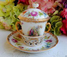 Dresden Helena Wolfsohn Trembleuse Chocolate Cup & Saucer & Lid ~ Gold #2