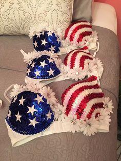 American Flag Rave Bra