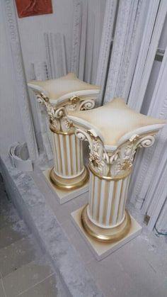 Coppia di colonne panna e oro foglia  6