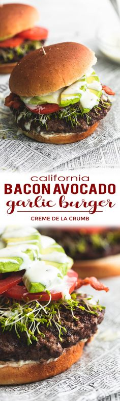 Whip up this California club burger with garlic and smokehouse black pepper, topped with cucumber, sprouts, avocado, bacon, and creamy ranch dressing.  | lecremedelacrumb.com