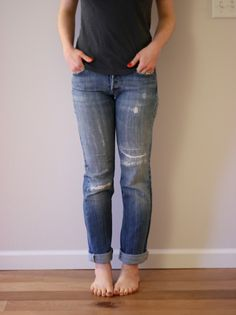 How to: patch holes in jeans + take in width to make skinny jeans DIY!  Adventures in Dressmaking: Favorite new old boyfriend jeans--my jeans-mending method in action yet again, plus making skinny jeans.