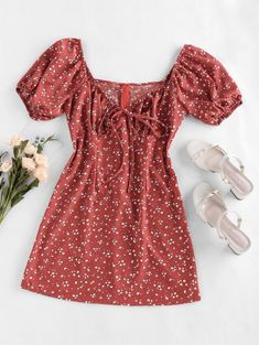 Girl Outfits, Cute Outfits, Fashion Outfits, Trendy Fashion, Cute Dresses, Casual Dresses, Cherry Dress, Cute Clothes For Women, Lace Bikini