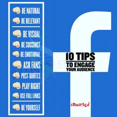 """10 tips to engage your audience on Facebook. ▃▃▃▃▃▃▃▃▃▃▃▃▃▃▃▃▃▃▃▃▃▃ Don't be Anti-social... Get Social with us! FB - facebook.com/illustr8ed.ca Twitter - Twitter.com/illustr8ed_ca Instagram- @illustr8ed.ca LinkedIn - https://ca.linkedin.com/in/illustr8edca Pinterest - www.pinterest.com/illustr8edca Tumblr - http://illustr8edca.tumblr.com  Check us out online at www.illustr8ed.ca. (COMING SOON)  illustr8ed.ca@gmail.com  """"Cre8ivity is in our DNA"""""""