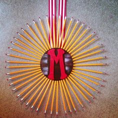 My daughters gift to her  teacher! Christmas gift! DIY - Pencil M monogram wreath!