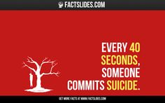 28 Facts about Suicide ←FACTSlides→ Every 40 seconds, someone commits suicide.
