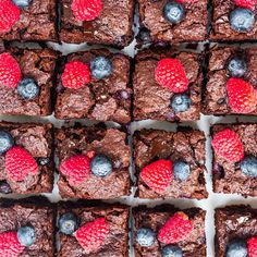 Is there anything better than a warm chocolate brownie? This recipe, which can easily be made dairy-free, couples the tanginess of the juicy raspberries with the sweet chocolate, making for a great afternoon or weekend treat. Chocolate Brownies, Vegan Chocolate, Melting Chocolate, Chocolate Recipes, Tray Bake Recipes, Baking Recipes, Baking Ideas, Holiday Baking, Tray Bakes