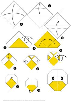 How to Make an Origami Duck Face Step by Step Instructions Paper craft