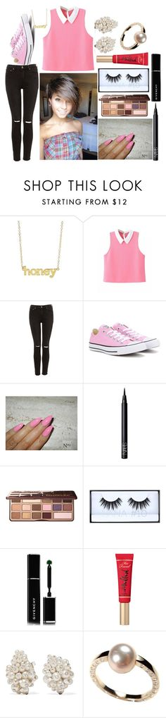 """""""Ashlee: August 24, 2016"""" by disneyfreaks39 ❤ liked on Polyvore featuring Jennifer Meyer Jewelry, Converse, NARS Cosmetics, Too Faced Cosmetics, Huda Beauty, Givenchy and Fred Leighton"""